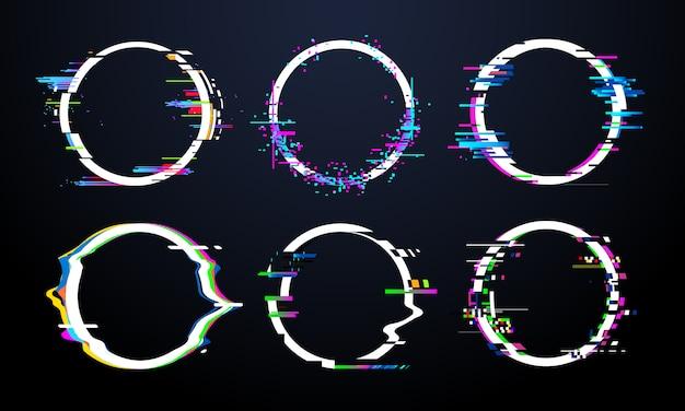 Глюк круговой рамки. телевизионный искаженный сигнал хаоса, искаженные кольца, световые эффекты, искажения кадров и дефекты, глюки, ошибки, круги, векторный набор Premium векторы