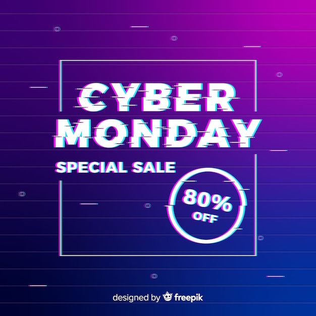 Glitch cyber monday background with gradient Free Vector