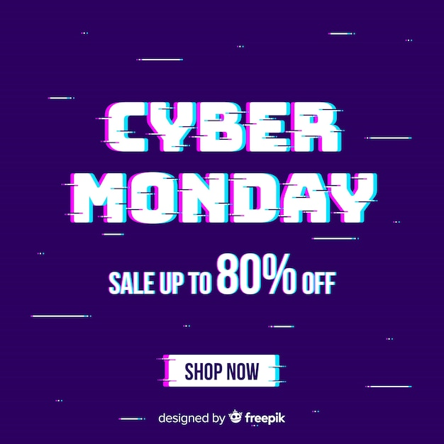 Glitch cyber monday background Free Vector