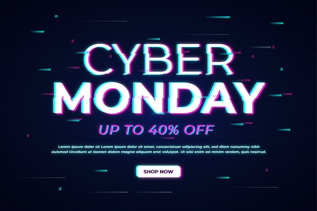 Glitch cyber monday banner Free Vector