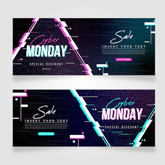 Glitch cyber monday banners set Free Vector