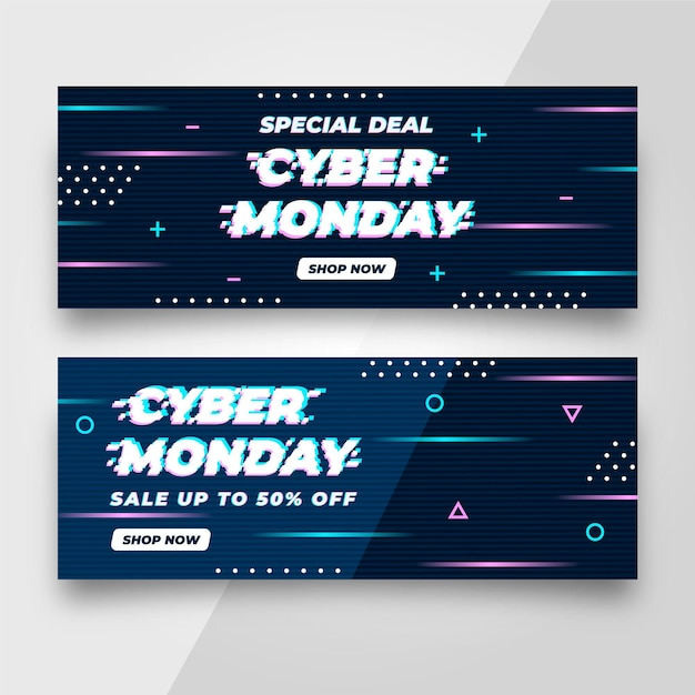 Glitch cyber monday banners Free Vector