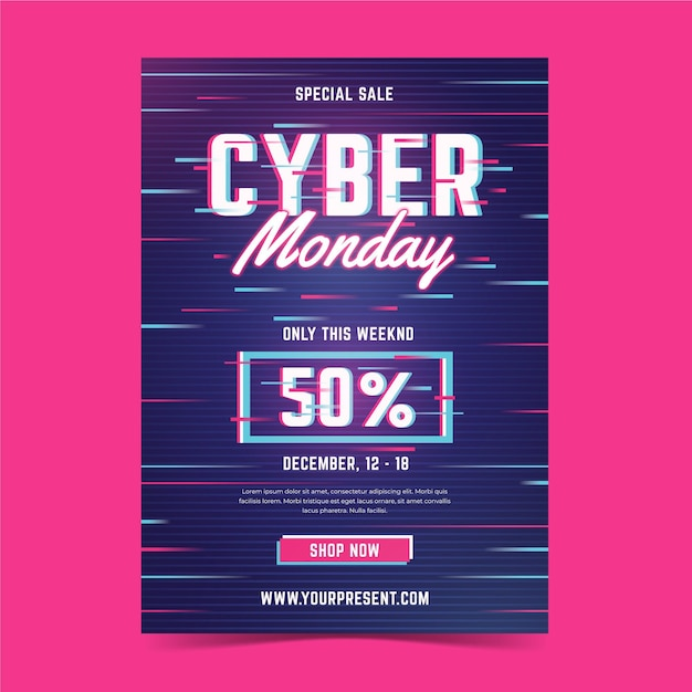 Glitch cyber monday flyer template Free Vector