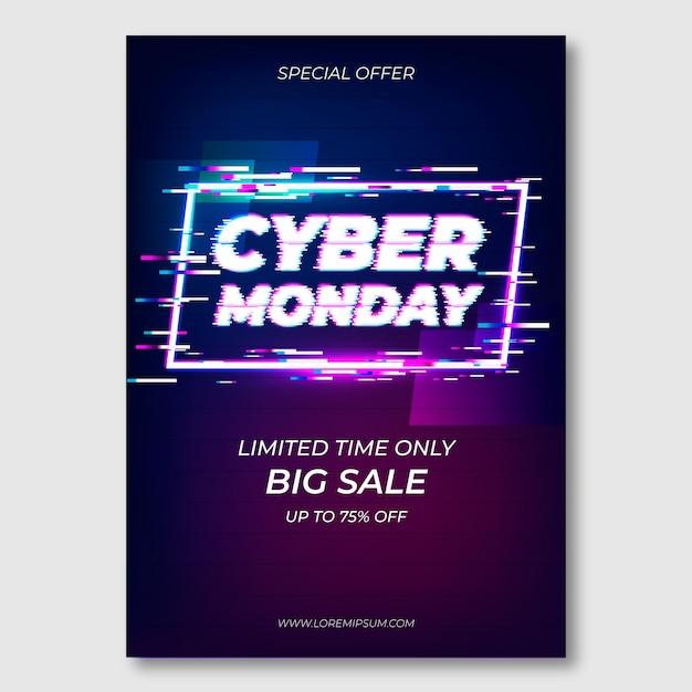 Modello di volantino di glitch cyber lunedì Vettore gratuito
