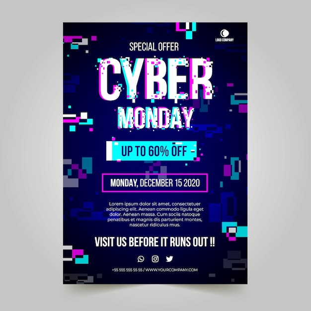 Glitch cyber monday poster template Free Vector