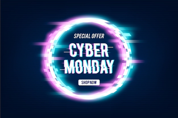 Glitch cyber monday promo text Free Vector