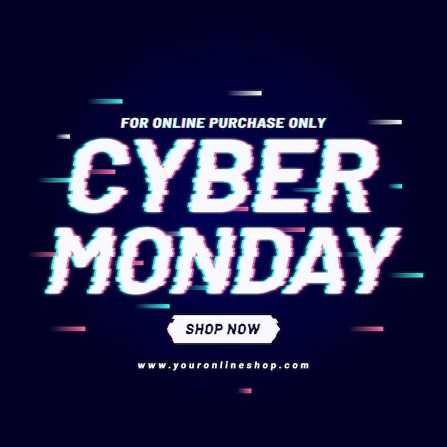 Glitch cyber monday promo Premium Vector