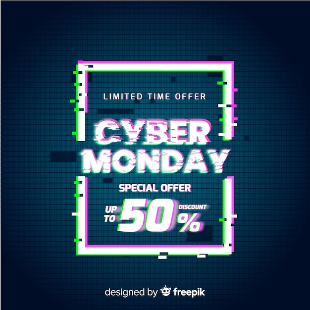 Glitch cyber monday special offer banner Free Vector