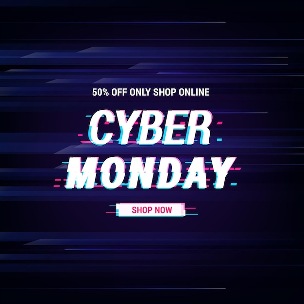 Glitch cyber monday text Free Vector