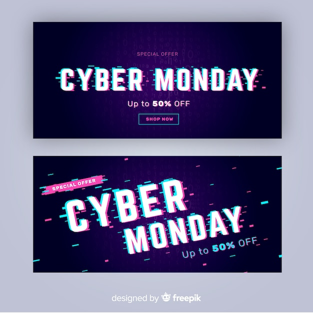 Glitch effect cyber monday banners template Free Vector