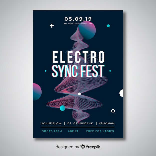 Glitch effect electronic music poster template Free Vector