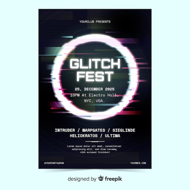 Шаблон плаката электронной музыки с эффектом глитча Бесплатные векторы