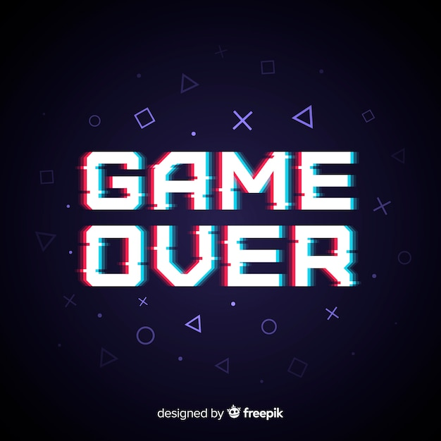 Glitch effect game over background Free Vector