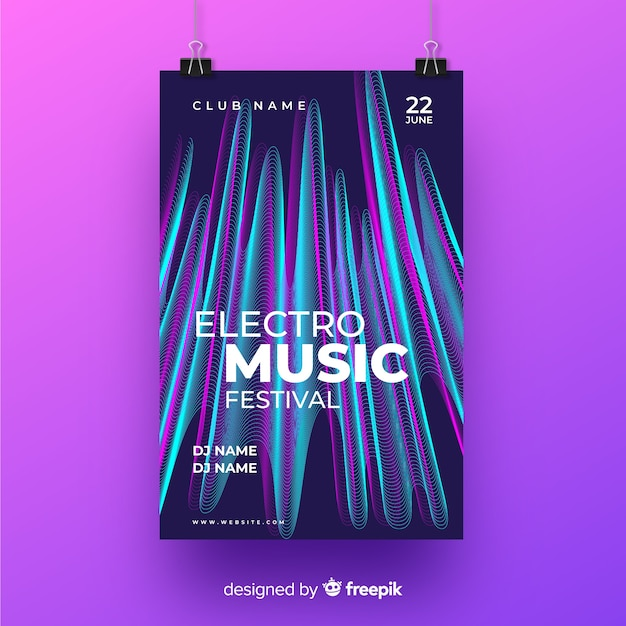 Glitch effect music poster for clubbing Free Vector