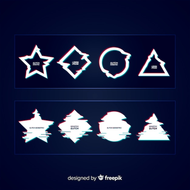 Glitch effect symbol collection Free Vector