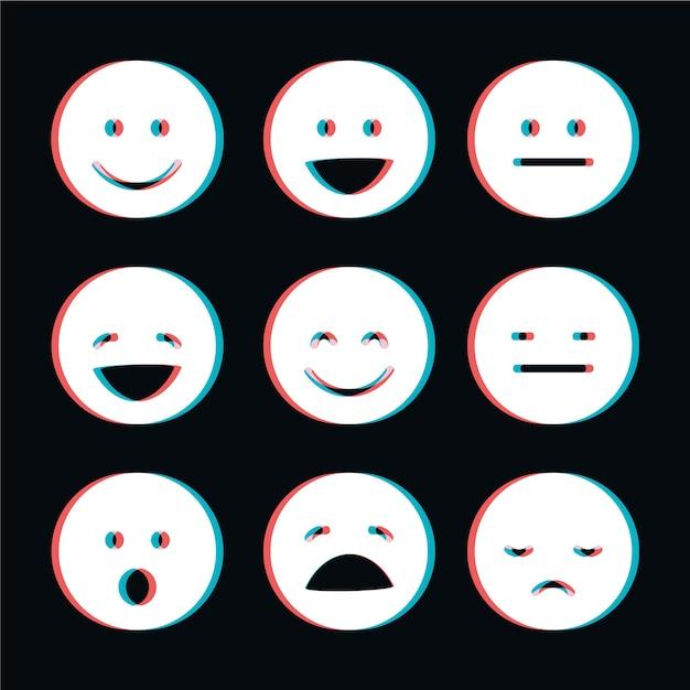 Glitch emojis collection Free Vector