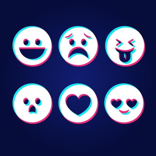 Collezioni di emoji glitch Vettore gratuito