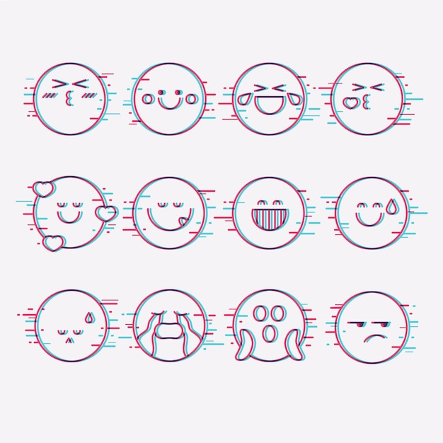Glitch emojis collections Premium Vector