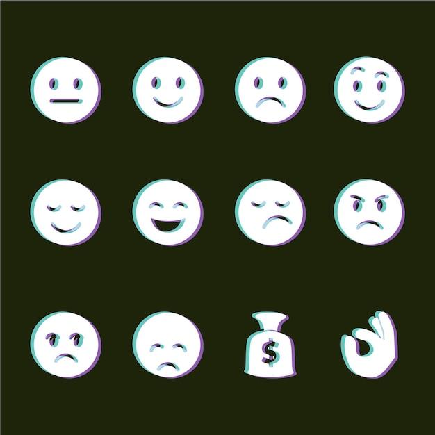 Глюк смайликов икон коллекции Бесплатные векторы