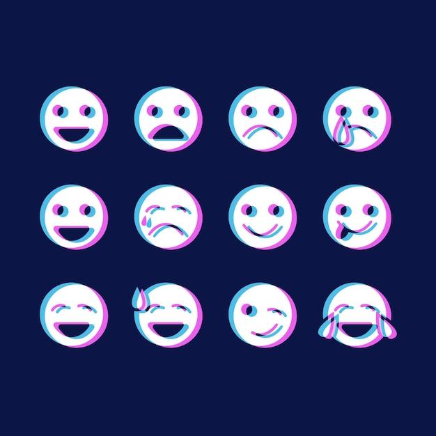 Pack di icone emoji glitch Vettore gratuito