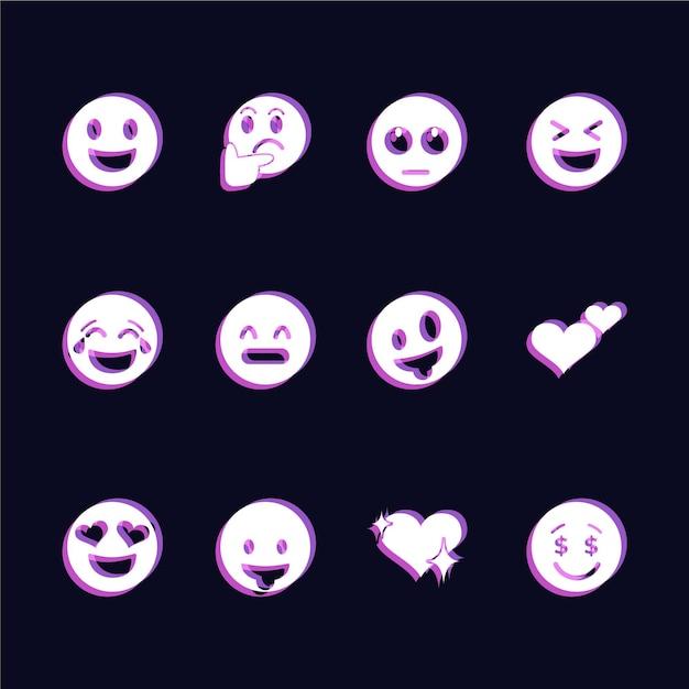 Набор иконок glitch смайликов Бесплатные векторы