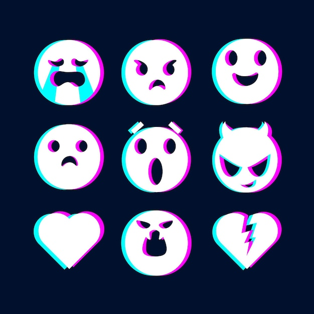 Glitch emojis illustrations collection Free Vector