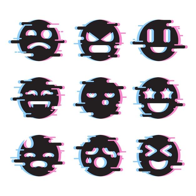 Glitch emojis pack Free Vector