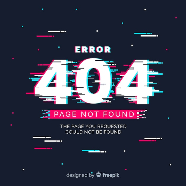 Glitch error 404 page Free Vector