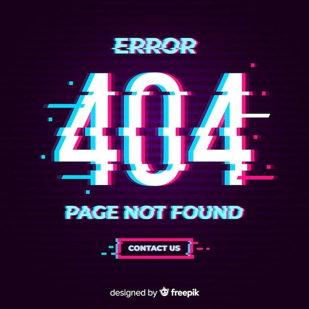 Glitch error 404 page Free Vector