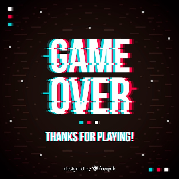 Glitch game over background Free Vector