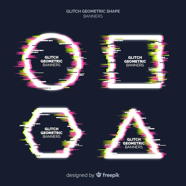 Glitch geometric shape banners Free Vector