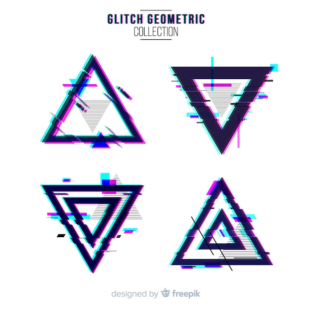 Glitch geometric shape collection Free Vector
