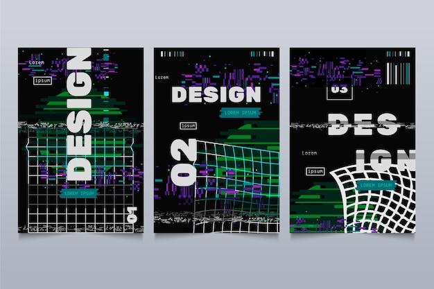 글리치 그래픽 디자이너 커버 컬렉션 무료 벡터