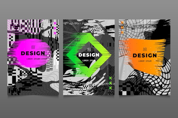 Glitch graphic designer cover with colours collection Free Vector