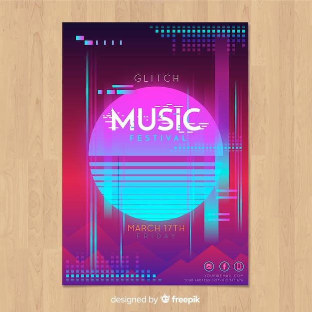 Glitch music festival poster template Free Vector