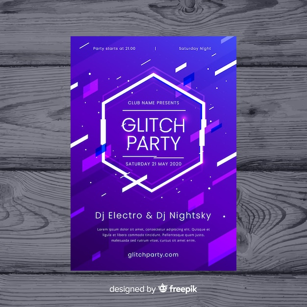 Glitch music festival poster template Vector | Free Download