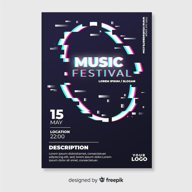 Шаблон плаката музыкального фестиваля glitch Бесплатные векторы