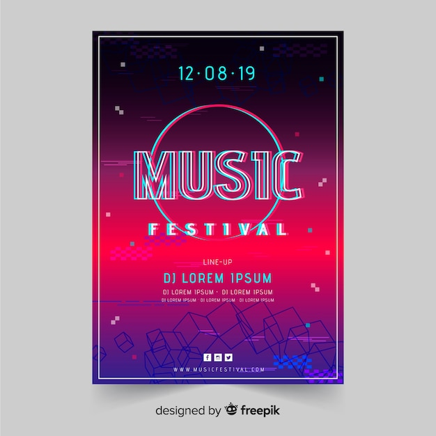 Glitch music festival poster template Free Vector