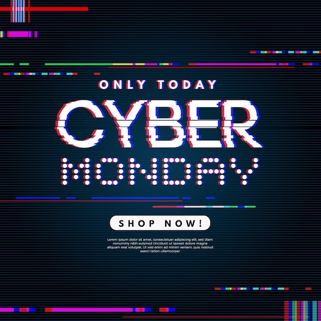 Glitch offer banner cyber monday Free Vector