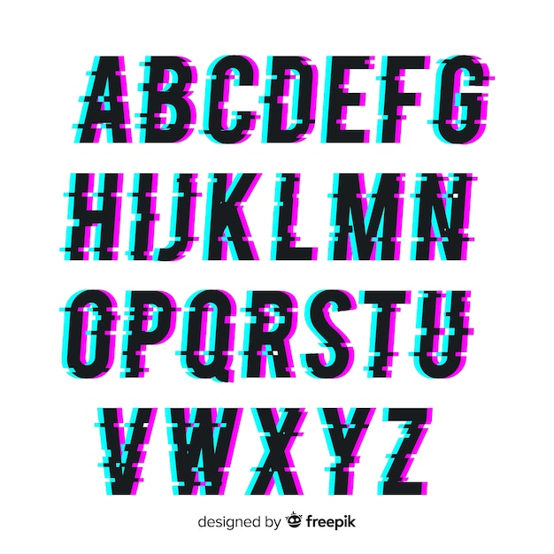 Glitch typography Free Vector