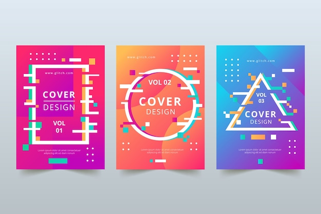 Коллекция обложек glitch графического дизайна Бесплатные векторы