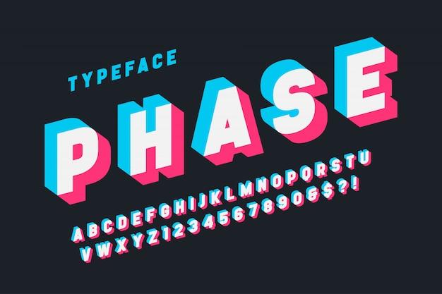 Glitched display font design, alphabet, typeface, letters Premium Vector