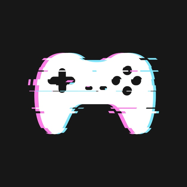 Glitched  of gamepad  illustration. isolated joystick with noise effects on dark background Premium Vector