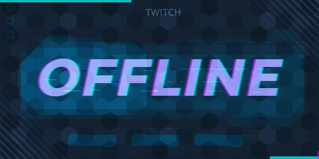 Glitched offline twitch banner gamer style Free Vector