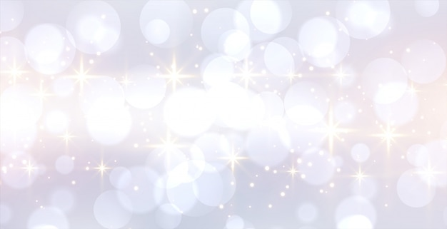 Glitetring white bokeh banner with text space Free Vector