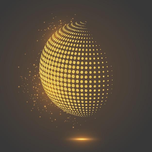 Sfera punteggiata del globo astratto di scintillio. Vettore gratuito
