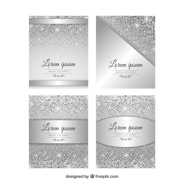 Glitter cards collection with silver color Free Vector