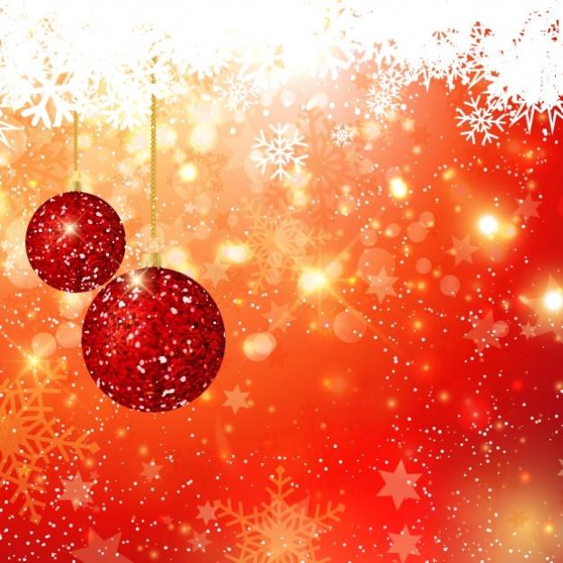 Glitter christmas balls on bokeh background vector free