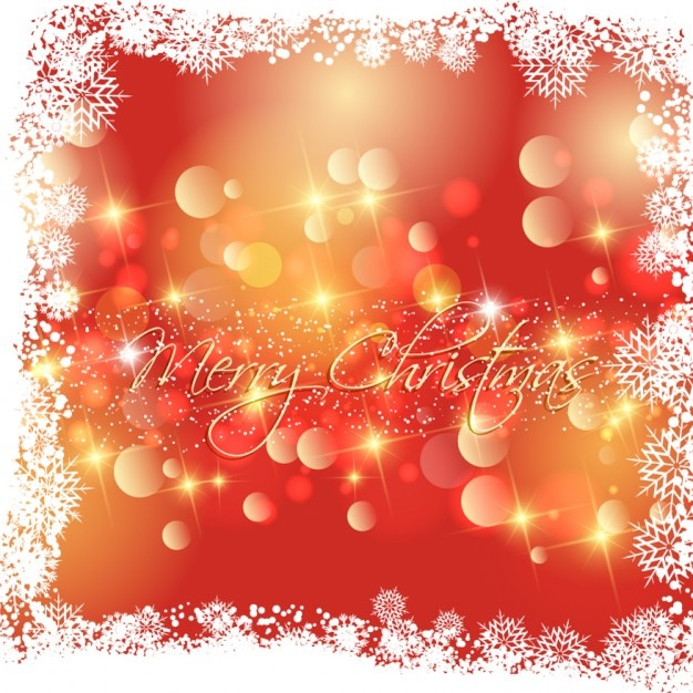 Glitter christmas card in bokeh style Free Vector