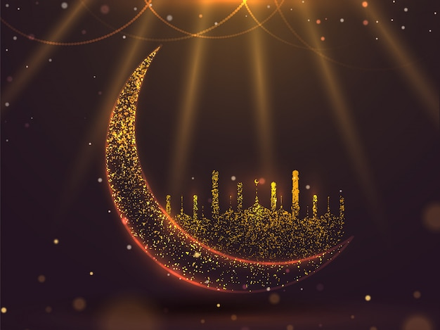 Glitter effect crescent moon with mosque on shiny brown background